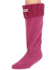 Hunter Dark Ion Pink Original Tall Cable Knit Cuff Welly Boot Socks Sz M 0080