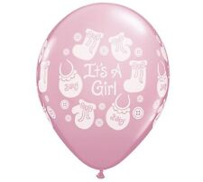 Baby Shower Balloons It's a Girl Buttons & Bows Qualatex Balloons 25 Per Pack