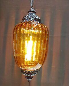 "VTG Amber Glass Pendant Light Hanging MCM Swag Halloween Lamp 19"" Works"