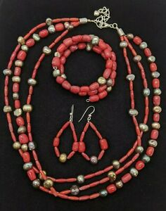 Jay King DTR Sterling Silver 925 Red Coral Gray Pearl Necklace Bracelet Earring