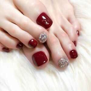 Wine Red Fake Toe Nails with Rhinestones Luxury French Artificial Press On Nails