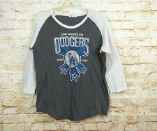 LA Dodgers Baseball MLB Womens Graphic Sweatshirt 3/4 Raglan Sleeve Gray Size L