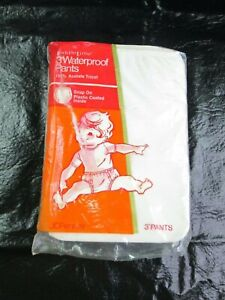 NEW Package 3 Rare Vtg 1970s Toddle Time Snap Plastic Baby Pants Diaper Cover Sm
