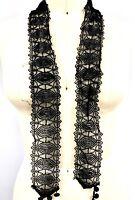 "Victorian French Knot Lace Black Trim 2.5""  Belt,Trims Came off Antique Dress"