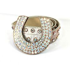"BB Simon Pink Metallic Leather Iridescent Rhinestone Womens Belt 42"" L 7002 B 90"