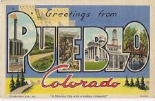 Greetings From PUEBLO CO Giant Letters From PFC in Roswell NM WWII 1945 Postcard