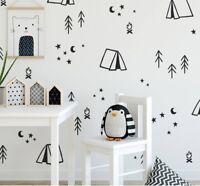 Wall Stickers camping tree moon star fire custom color vinyl decal decor Nursery
