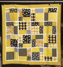 "Handmade Quilt - yellow and black -62"" x 62"""