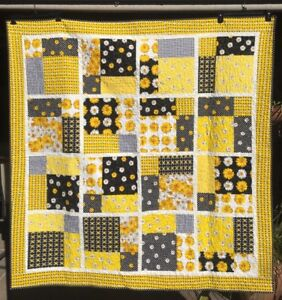 "Handmade Quilt - yellow and black -62"" x 62"""