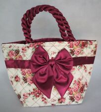 NaRaYa Style Red and White Flower Fabric Medium Tote Bag with Bow Design New