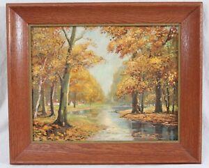 Gorgeous Autumn Pond Impressionist Landscape Oil Painting 15x19 Vintage Cabin