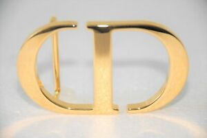Authentic Large CHRISTIAN DIOR CD Gold Finish Belt Buckle Accessory