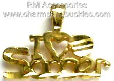I Love Soccer Charm / Pendant EP Gold Plated with a Lifetime Guarantee