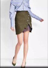 Gorgeous khaki green mini skirt with blue lace and buttons sizes S