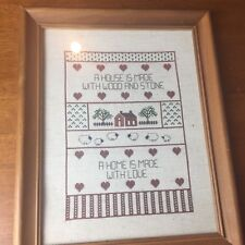 Framed Needle Point Sampler Craft Home is Made Wth Love House