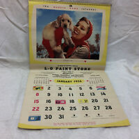 Vintage 1956 Calendar Advertising L-O Paint Store Lorain Ohio