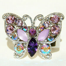 w Swarovski  Crystal ~Purple Celebrity BUTTERFLY~ Party Cocktail Adjustable Ring