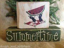 Primitive Country Ants Watermelon Summertime Shelf Sitter Wood Block Set