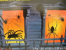 "halloween 2 spider window decorations 33.5 "" x 65"" interior lights make it glow"