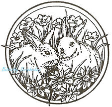 Bunny Rabbit Circle Easter Wood Mounted Rubber Stamp Northwoods New CC6473