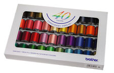 40 BROTHER SATIN EMBROIDERY MACHINE THREADS Box No. ETS-40N (XC5518001) GENUINE