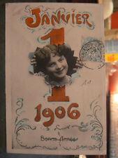 cpa fantaisie 1er janvier 1906 fillette
