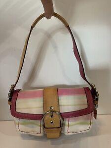 Coach Pink Hampton Multi Stripe Soho Buckle Hobo Purse Double Pocket Bag Used