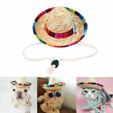Pet Cat Puppy Dog Straw Hat Buckle Costume Supply For Animal Chic
