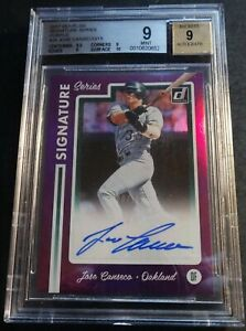 2017 JOSE CANSECO DONRUSS SIGNATURE SERIES PURPLE REFRACTOR AUTO #38 BGS 9 08/15