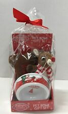 Pet Dog Bowl wih Toys Christmas Gift Set Rudolph Red Nosed Reindeer