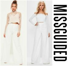 MISSGUIDED  PREMIUM  WHITE   CREPE  TEXTURED  WIDE LEG  PANTS   Sz 4  UK 8   NEW