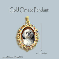 Lhasa Apso Dog Sweet Face - Ornate Gold Pendant Necklace