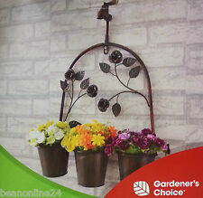 "Hanging Vintage Retro Metal Wall Planter with 3 Pots & ""Tap / Faucet"""