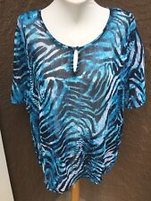 New $99 Chico's Blue Animal Prowl Embellished Tunic Top Blouse 3 = XL 16 18 NWT