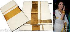 100% Cotton Kerala Ethnic Kasavu Saree Sari Cream Gold 9257