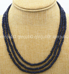 """Natural Brazil 3 Rows 2X4mm Faceted Dark Blue Sapphire Gems Beads Necklace 18"""""""