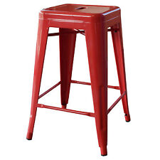 AmeriHome BS24REDS Loft Red 24 Inch Metal Bar Stool