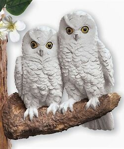 Realistic Owls on Branch Tree Hanger Bird Sculpture Life-Like Indoor/Out