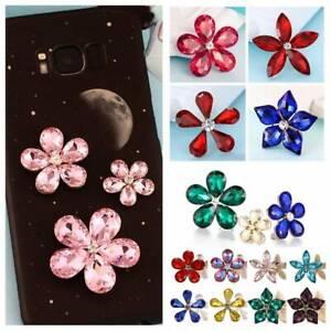 2PCS 20mm~38mm Sew/Glue On Crystal Flower Rhinestone Applique DIY Jewelry Craft