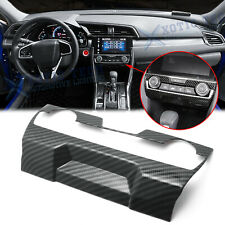 Carbon Fiber Central Console Ac Switch Panel Cover Trim For Honda Civic 2016-20