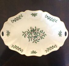 """Lenox Holiday Christmas Holly and Berries Oblong Tray 16"""""""
