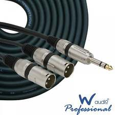 UKDJ 2m Meter Twin Male XLR Plugs to Single 6.35mm Stereo Jack Cable Lead