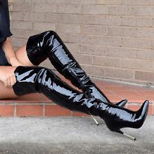 Womens Long Boot Patent Vinyl Stiletto Kardashian Ladies Over The Knee Shoe Size