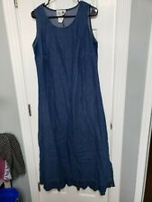 Copa Cabana 2 Pc Women's Blue Denim Sleeveless Dress Jacket Size 1X Plus Size