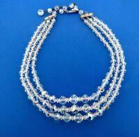 "Vintage Crystal Aurora Borealis Glass Necklace Choker 16.5"" Multi strand"