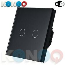 KONOQ Luxury Glass Panel Touch LED Light Switch : WIFI ON/OFF, Black, 2Gang/1Way