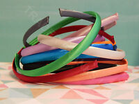 NEW PLAIN SATIN SIMPLE ALICE BAND HAIR BANDS HEADBAND 1CM BACK TO SCHOOL