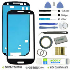 SAMSUNG GALAXY S3 Black Replacement Screen Front Glass lens Repair Kit+ 2mm Tape