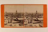 Italia Milan Panorama c1875 Foto Stereo Vintage Albumina