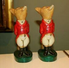 PAIR of REYNARD the FOX METAL HUNTSMAN STATUE FIGURINES